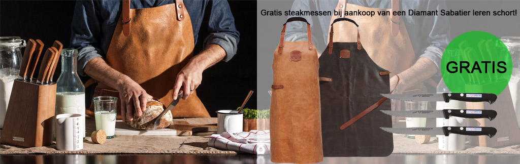 Gratis steakmessen bij aankoop van een leren schort